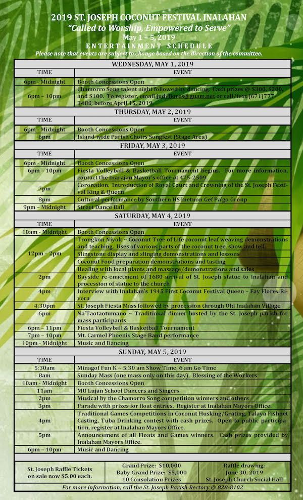 2019 ST. JOSEPH COCONUT FESTIVAL INALAHAN - Schedule